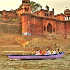 Purple Boat  - Varanasi India by Kim Bemis