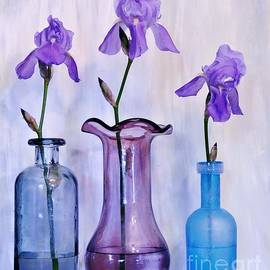 Purple Irises in Vases by Marsha Heiken