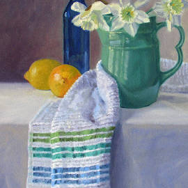 Bonnie Mason - Quiet Moment- Daffodils in a Blue Green Pitcher with Lemons