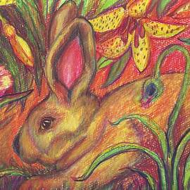 Rabbit In Flowers by Susan Brown    Slizys art signature name