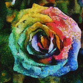Eti Reid - Rainbow rose square format painting