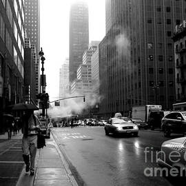 Rainy Day in New York - Taxis and Steam by Miriam Danar
