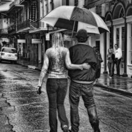 Rainy French Quarter Stroll  in black and white by Kathleen K Parker