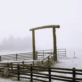 Kae Cheatham - Ranch Gate in Foggy Snow
