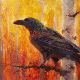 Karen Whitworth - Raven Glow Autumn Forest of Golden Leaves