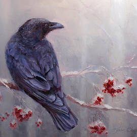 Raven in the Stillness - Black bird or crow resting in winter forest by K Whitworth