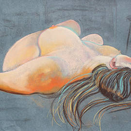 Reclining Woman with Stuido Stool by Asha Carolyn Young