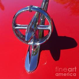 Red '48 Buick Eight Super Hood Ornament with Shadow by Barbie Corbett-Newmin