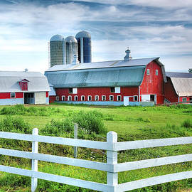 Red Barns and White Fence by Steven Ainsworth