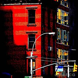 Miriam Danar - Red Building with Yellow Streetlight - Old Buildings and Architecture of New York City