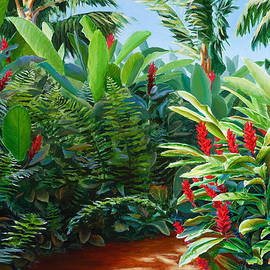 Tropical Jungle Landscape - Red Garden Hawaiian Torch Ginger Wall Art by K Whitworth