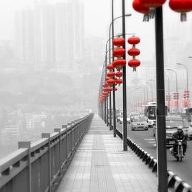 Red Lanterns on a Bridge by Valentino Visentini
