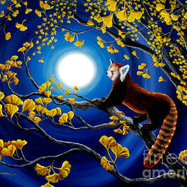 Laura Iverson - Red Panda in Golden Gingko Tree