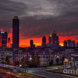 Reid Callaway - Red Sky Sunrise Midtown Atlanta