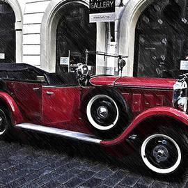Jenny Rainbow - Red Vintage Car in Old Prague