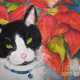 Cat - Watercolor Portrait - Rescued Kitty with Poinsietta by Carolyn Gray