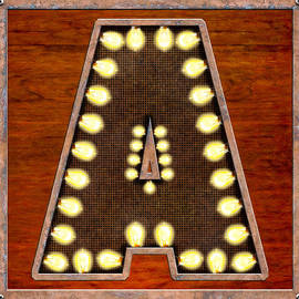 Retro Marquee Lighted Letter A by Mark E Tisdale