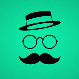 Retro Minimal vintage face with Moustache and Glasses by Philipp Rietz