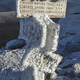 Rime Ice on the Lafayette Summit Sign by Chris Whiton