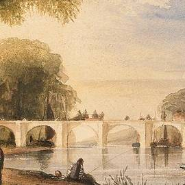 Robert Hindmarsh Grundy - River scene with bridge of six arches