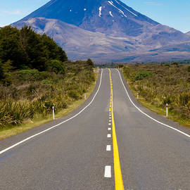 Road leading to active volcanoe Mt Ngauruhoe in NZ by Stephan Pietzko