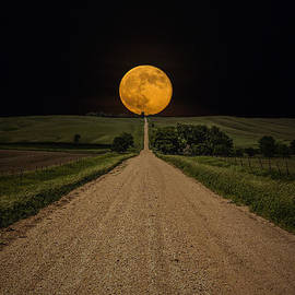 Road to Nowhere - Supermoon by Aaron J Groen