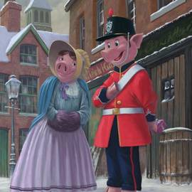 romantic victorian pigs in snowy street