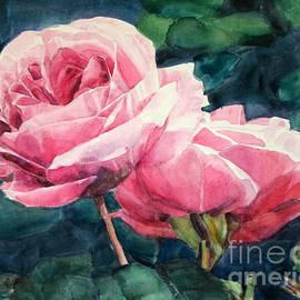 Greta Corens - Watercolor of Two Luscious Pink Roses