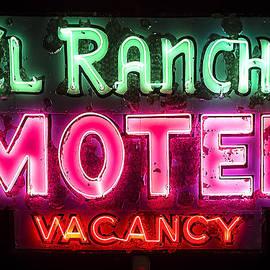 ROUTE 66 - El Rancho Motel Vintage Neon Sign in Williams Arizona by John Wayland