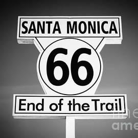 Paul Velgos - Route 66 Sign in Santa Monica in Black and White