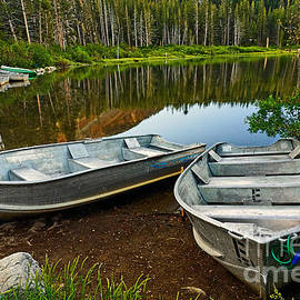 Row Boats lining a lake in Mammoth Lakes California by Jamie Pham