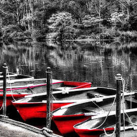 Row of Red Rowing Boats by Kaye Menner