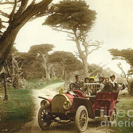 Royal Tourist touring car model G3 at Cypress Grove in Pebble Beach California 1910 by California Views Archives Mr Pat Hathaway Archives