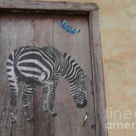 Rustic Zebra and Butterly Door