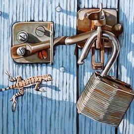Lillian  Bell - Rusty lock on Blue Gate