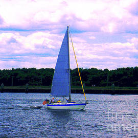 Annie Zeno - Sail Boat With An American Flag