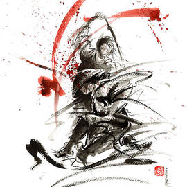 Samurai sword black white red strokes bushido katana martial arts sumi-e original fight ink painting by Mariusz Szmerdt