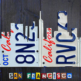 San Francisco California Skyline License Plate Art by Design Turnpike
