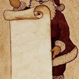 Santa Claus Wishlist original coffee painting by Georgeta  Blanaru