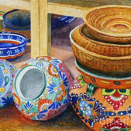 Santa Fe Hold 'em Pots And Baskets by Karen Fleschler