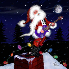 Santa Plays Guitar in a Snowstorm 2 by Doug LaRue