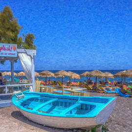 Santorini Beach Boat Grk4151 by Dean Wittle