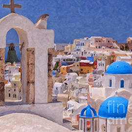 Antony McAulay - Santorini Oia Belltower Digital Painting