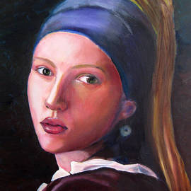 Scarlett Johansson in Vermeer's Girl with a Pearl Earring by Marcel Quesnel