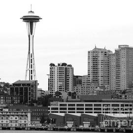 Connie Fox - Seattle Cityscape With Space Needle BW