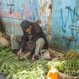 Selling herbs in the souk by Patricia Hofmeester