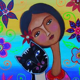 Senorita Frida With Her Cat by Pristine Cartera Turkus