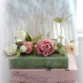 Kathy Fornal - Shabby Chic Dreamy Cottage Roses With Romantic Paris Books and Angel Wings on White Chair
