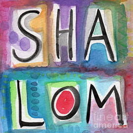 Shalom - square by Linda Woods
