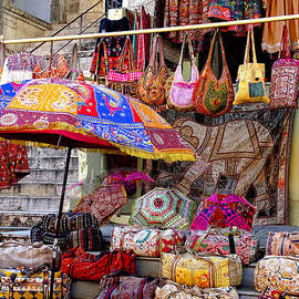 Shopping Colorful Bags Sale Jaipur Rajasthan India by Sue Jacobi
